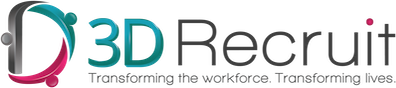 Logo of 3D Recruit - Transforming the workforce. Transforming careers